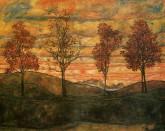 egon_schiele_four_trees_magna_postcard_1
